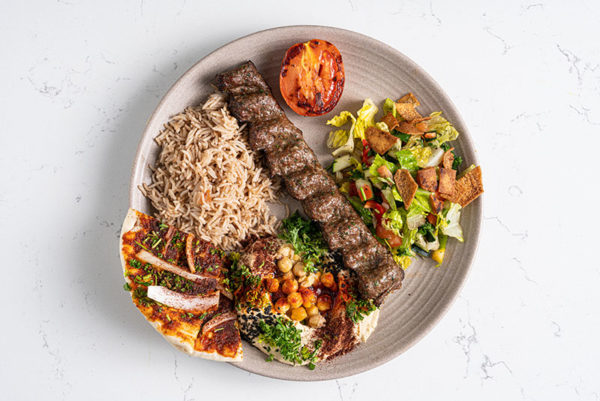 Halal Beef and Lamb Grilled Kebab with rice and hummus