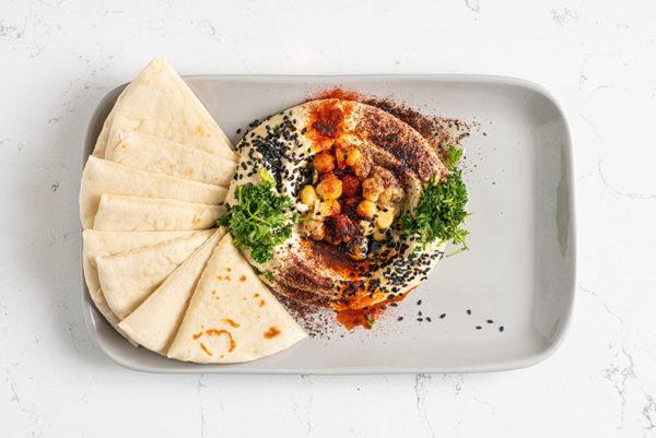 Hummus with Pita at Simsim Outstanding Shawarma