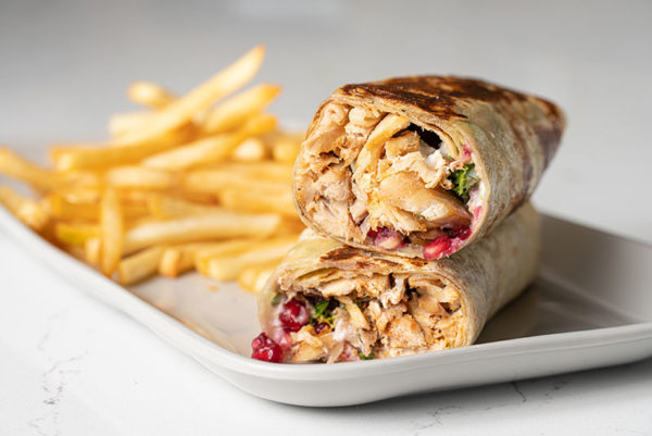 Chicken Shawarma with Garlic Sauce and Pomegranate