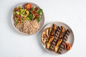 Chicken Shish Tawook, Beef and lamb Kebab, Rice, Hummus