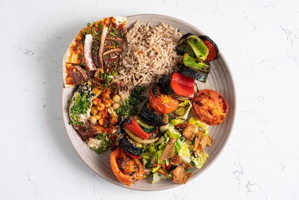 Vegetable Shish Kebab with rice and hummus